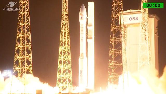 Il satellite Falcon Eye 1 al decollo su un razzo vettore Vega (Immagine cortesia Arianespace. Tutti i diritti riservati)