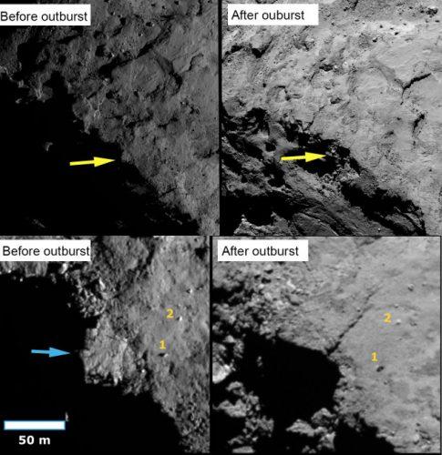 Collassi di costoni rocciosi e massi che rimbalzano sulla superficie della cometa 67P/Churyumov-Gerasimenko