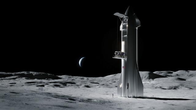 Concetto artistico di Spaceship con lander sulla Luna (Immagine cortesia SpaceX)