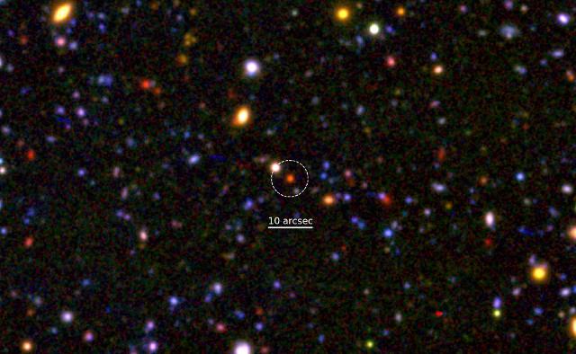 Una porzione di vista combinata Subaru/XMM-Newton con al centro una galassia morente (Immagine cortesia NAOJ/M. Tanaka)