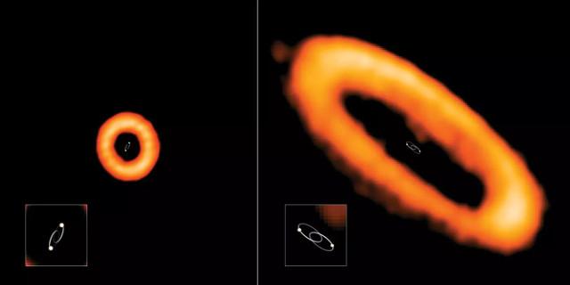 Due esempi di dischi protoplanetari allineati e disallineati