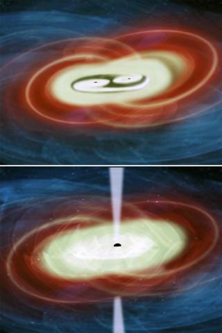 Concetto artistico di due buchi neri supermassicci al centro di una galassia