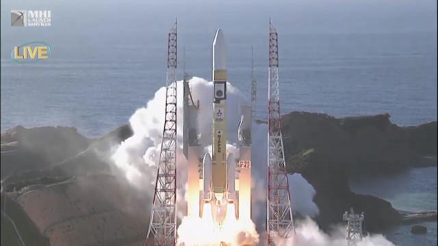 La sonda spaziale Hope al decollo su un razzo vettore H-IIA (Immagine cortesia MHI / JAXA)