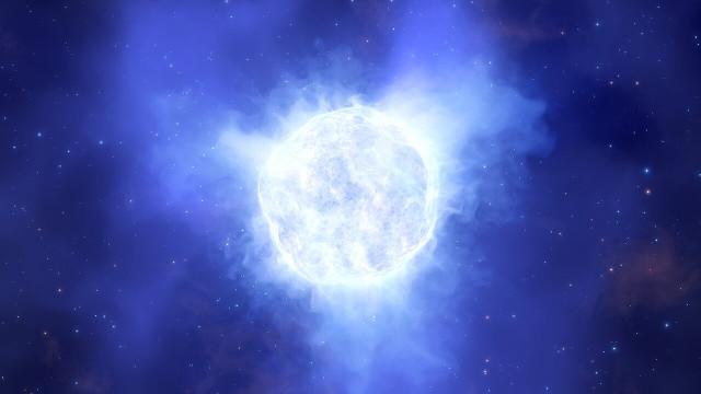 Concetto artistico di stella variabile blu luminosa (ESO/L. Calçada)