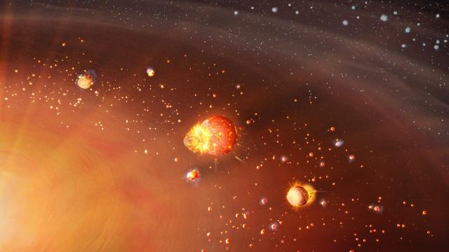 Una una rappresentazione artistica della formazione delle due popolazioni planetarie del sistema solare
