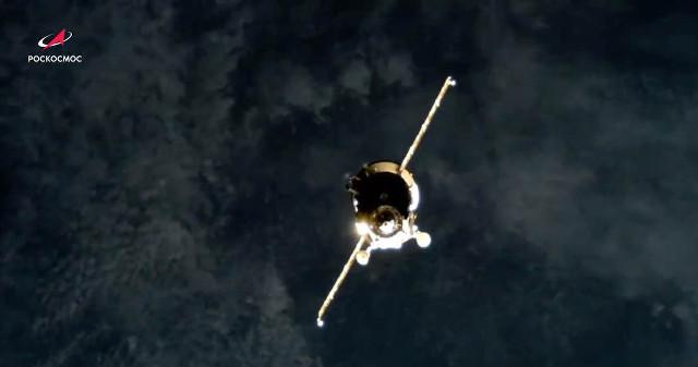 Il cargo spaziale Progress MS-16 si avvicina alla Stazione Spaziale Internazionale (Immagine cortesia Roscosmos)