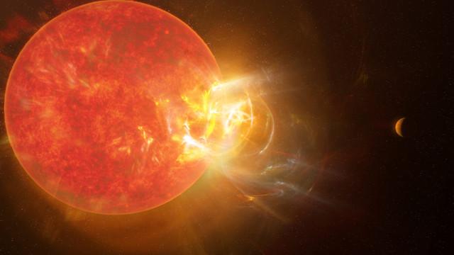 Concetto artistico di Proxima Centauri durante un superbrillamento (Immagine NRAO/S. Dagnello)