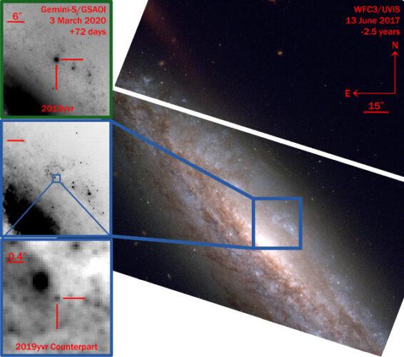 Viste della supernova 2019yvr e della probabile stella progenitore