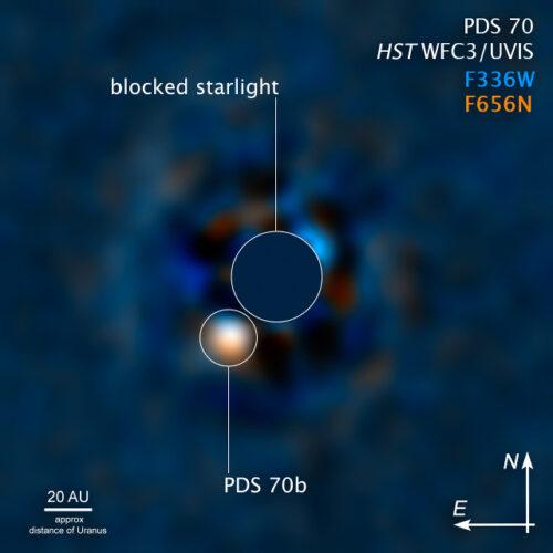 Il sistema PDS 70 visto da Hubble
