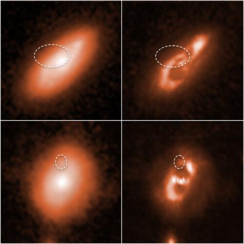 Le probabili galassie di origine dei lampi radio veloci catalogati come FRB 190714 (in alto) e FRB 180924 (in basso)