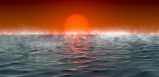 Concetto artistico della superficie di un pianeta Hycean (Immagine cortesia Amanda Smith, Università di Cambridge)