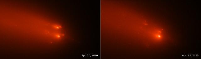 Frammenti della cometa C/2019 Y4 (ATLAS) visti da Hubble