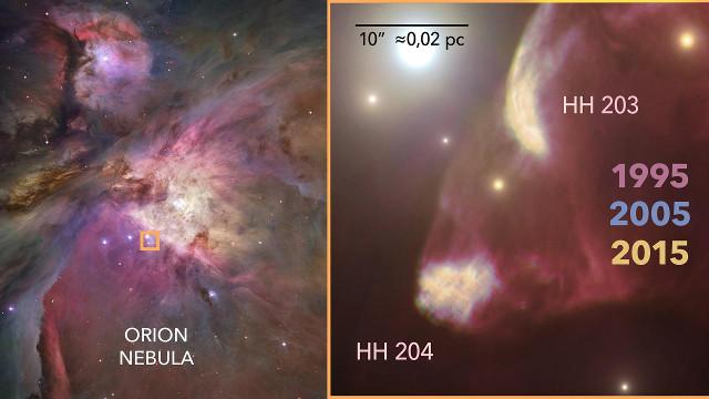 La Nebulosa di Orione vista dal telescopio spaziale Hubble e sulla destra il particolare di HH204 con il suo getto di materiali.