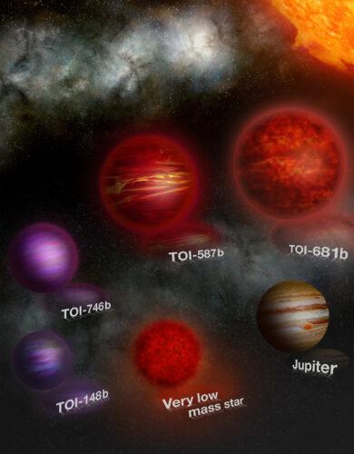 Illustrazione artistica di questi oggetti assieme a Giove come confronto delle dimensioni