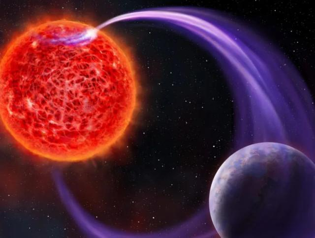Concetto artistico di nana rossa che interagisce magneticamente con un pianeta (Immagine cortesia Danielle Futselaar (artsource.nl))