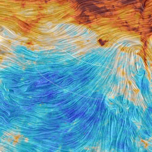 Vista di Planck dell'area osservata dall'esperimento BICEP2 (Immagine ESA/Planck Collaboration. Acknowledgment: M.-A. Miville-Deschênes, CNRS – Institut d'Astrophysique Spatiale, Université Paris-XI, Orsay, France)