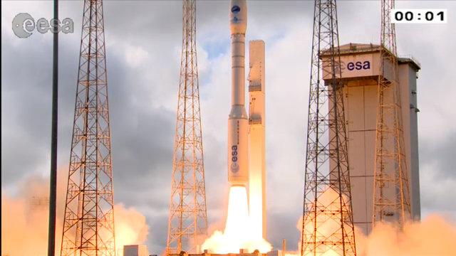 L'IXV al decollo in cima ad un razzo vettore Vega (Immagine ESA)