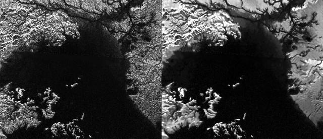 Confronto tra la mappa radar originale di Ligeia Mare su Titano e quella processata con la tecnica del despeckling (Immagine NASA/JPL-Caltech/ASI)