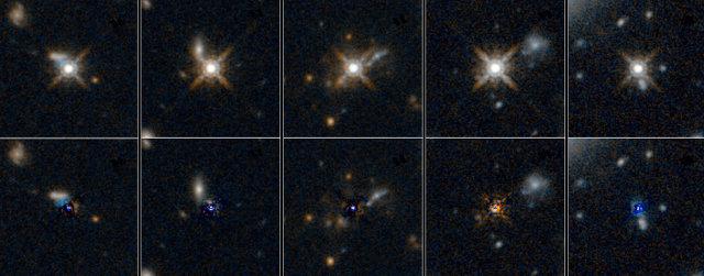 Galassie contenenti quasar osservate dal telescopio spaziale Hubble: nella fila superiore il quasar è visibile, in quella inferiore la sua luce è stata sottratta (Immagine NASA/ESA)