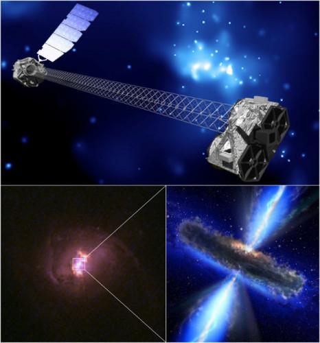 In alto, una rappresentazione artistica del telescopio spaziale NuSTAR (NASA/JPL-Caltech). In basso a sinistra, una delle galassie esaminate da NuSTAR (Hubble Legacy Archive, NASA, ESA). In basso a destra, rappresentazione artistica di un buco nero supermassiccio nascosto nella galassia che lo ospita (NASA/ESA)