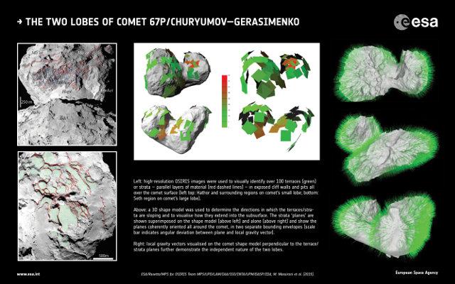 A sinistra alcune delle terrazze (in verde) identificate sulla cometa 67P/Churyumov–Gerasimenko. Al centro il modello 3D usato per l'analisi. A destra i vettori gravitazionali visualizzati sulla cometa (Immagine ESA/Rosetta/MPS for OSIRIS Team MPS/UPD/LAM/IAA/SSO/INTA/UPM/DASP/IDA; M. Massironi et al (2015))