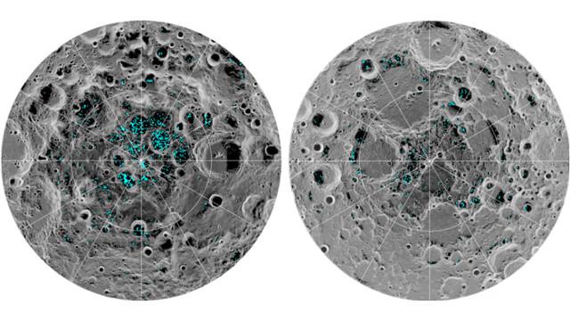 Distribuzione del ghiaccio d'acqua ai poli della Luna