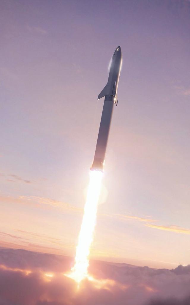 Rendering del BFR con la BFS in cima (Immagine cortesia Elon Musk / SpaceX. Tutti i diritti riservati)