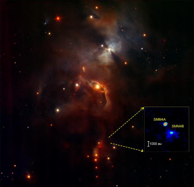 Ammasso di formazione stellare con SMM4A e SMM4B nel riquadro (Immagine ESO/ALMA(ESO/NAOJ/NRAO)/Aso et al.)