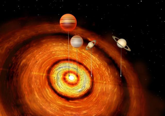 concetto artistico del sistema di CI Tauri e dei suoi pianeti (Immagine cortesia Amanda Smith, Institute of Astronomy)