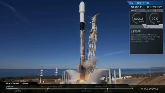 Il razzo Falcon 9 al decollo nella missione SSO-A SmallSat Express (Immagine cortesia SpaceX)