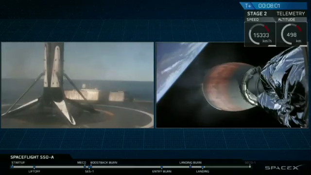 Il primo stadio razzo Falcon 9 dopo il terzo atterraggio mentre il secondo stadio continua la missione SSO-A SmallSat Express (Immagine cortesia SpaceX)