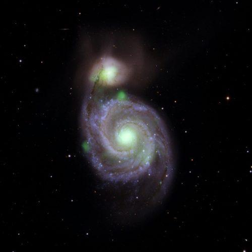 Sorprendenti emissioni di raggi X ad alta energia dalla Galassia Vortice e dalla sua piccola compagna