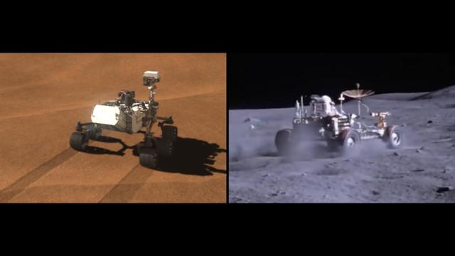 Il Mars Rover Curiosity e il Moon Rover della missione Apollo 17 (Immagine NASA/JPL-Caltech)