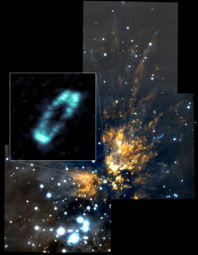 Il disco che circonda la stella Orion Source I e la nube molecolare di Orione I (Immagine ALMA (NRAO/ESO/NAOJ); NRAO/AUI/NSF; Gemini Observatory/AURA)