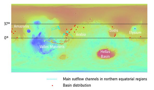 Distribuzione degli antichi laghi, indicati dai punti rossi (Immagine Topography: NASA/MGS/MOLA; Crater distribution: F. Salese et al (2019))