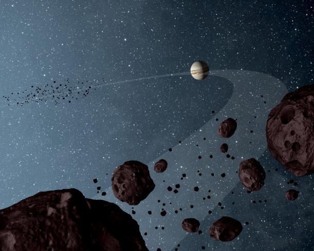 Concetto artistico di Giove con i suoi troiani (Immagine NASA/JPL-Caltech)