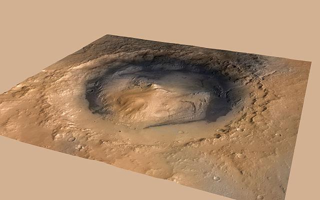 Il cratere Gale (Immagine NASA/JPL-Caltech/ESA/DLR/FU Berlin/MSSS)