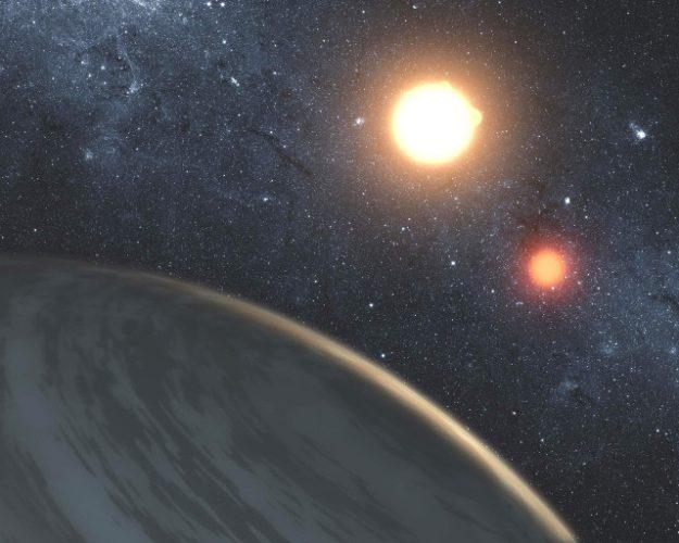 Rappresentazione artistica di pianeta gassoso in un sistema binario (Immagine NASA/JPL-Caltech/T. Pyle)