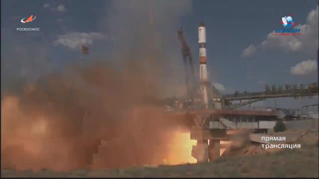 Il cargo spaziale Progress MS-12 al lancio su un arzzo Soyuz 2.1a (Immagine cortesia Roscosmos)