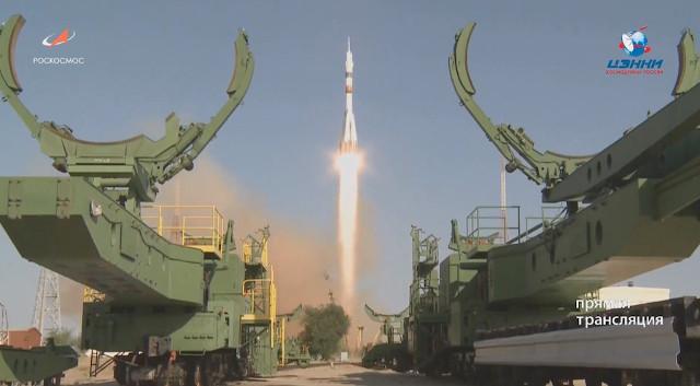 La navicella spaziale Soyuz MS-14 al decollo su un razzo vettore Soyuz 2.1a (Immagine cortesia Roscosmos)