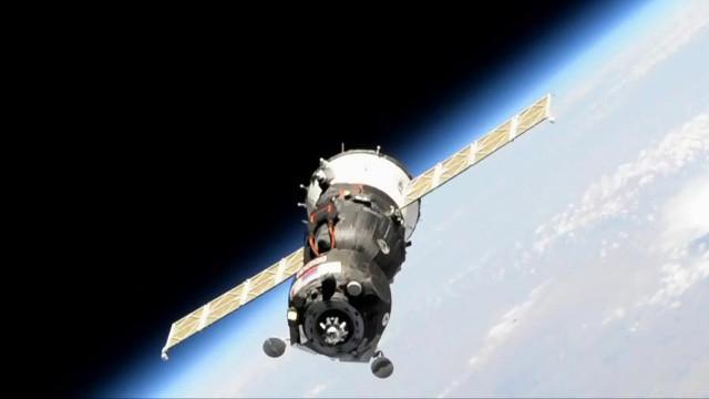 La navicella spaziale Soyuz MS-14 durante il tentativo di attracco (Immagine NASA)