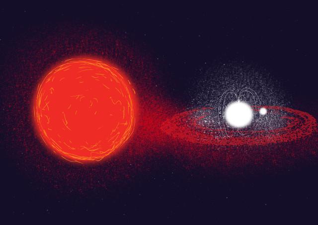 Concetto artistico del sistema della pulsar PSR J1023+0038 con la sua compagna sulla sinistra (Immagine ESA)