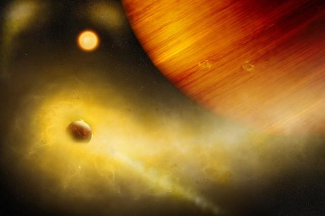 Concetto artistico di eso-Io in orbita attorno a un gigante gassoso (Immagine cortesia Università di Berna, Illustrazione di Thibaut Roger)