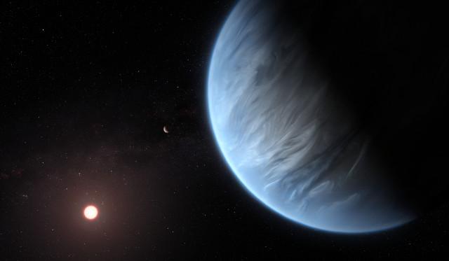 Concetto artistico di K2-18b con la sua stella sullo sfondo (Immagine ESA/Hubble, M. Kornmesser)