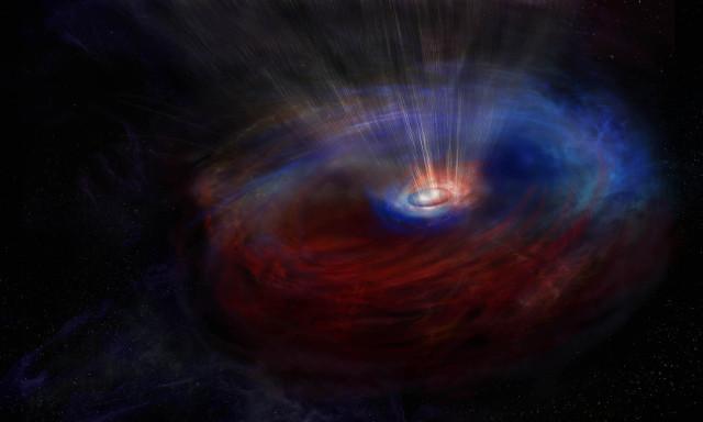 Concetto artistico dei dischi attorno al buco nero supermassiccio al centro della galassia NGC 1068 (Immagine NRAO/AUI/NSF, S. Dagnello)