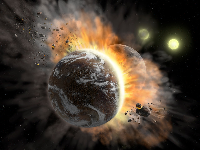 Concetto artistico di collisione planetaria nel sistema BD +20 307 (Immagine NASA/SOFIA/Lynette Cook)