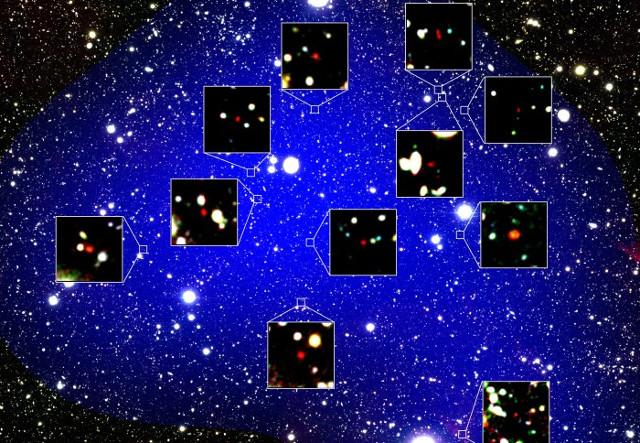 Il protoammasso z66OD con le galassie nei riquadri (Immagine cortesia NAOJ/Harikane et al.)