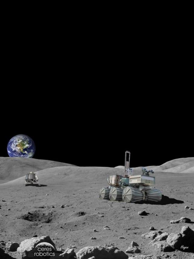 Concetto artistico di lander / rover sulla Luna (Immagine cortesia Ceres Robotics)