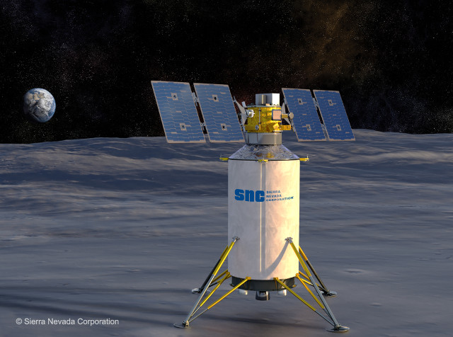 Concetto artistico di lander sulla Luna (Immagine cortesia Sierra Nevada Corporation)