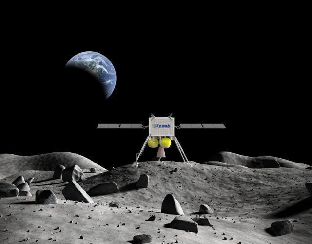 Concetto artistico di lander sulla Luna (Immagine cortesia Tyvak Nano-Satellite Systems Inc.)